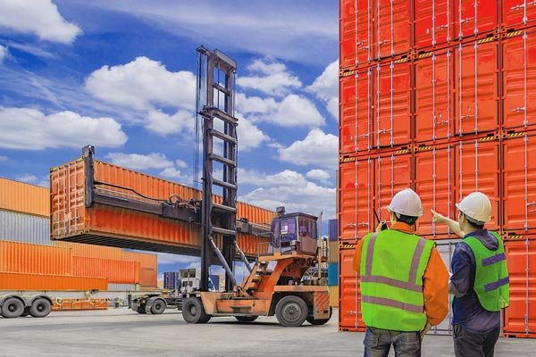 Two logistics workers wearing hard hats supervising a shipping container being loaded