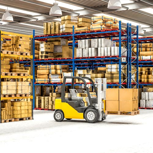 Supply chain warehouse with yellow forklift truck