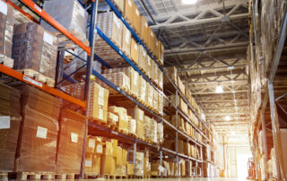Logistics warehouse full of shipping boxes