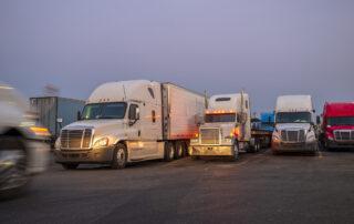 Semi trucks parked together